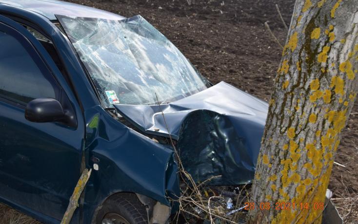 BALESET: Fának rohant egy személykocsi, egy 15 éves lány is megsérült