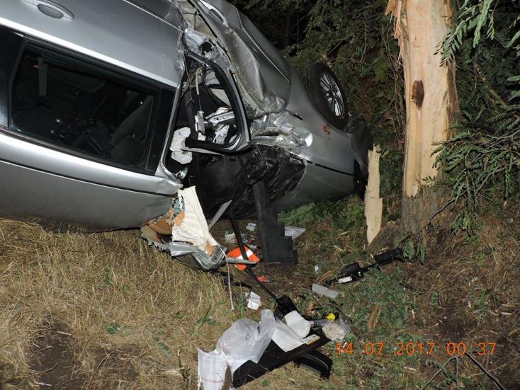 Halálos baleset a Komáromi járásban: fának csapódott egy autó