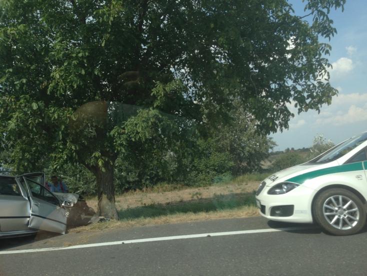 SÚLYOS BALESET: Fának csapódott egy személyautó a 63-ason