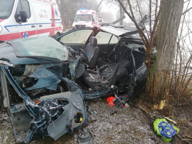 SÚLYOS BALESET: Fiatal nőt kellett kivágni a fának csapódott kocsiból Nagymegyernél!