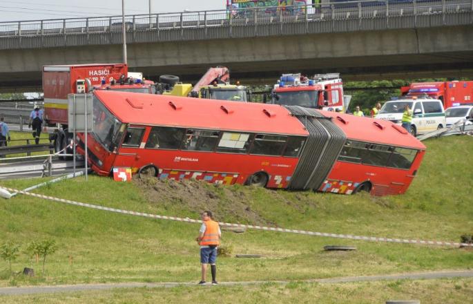 A pozsonyi Kikötői híd alatt személyautóval ütközött egy városi busz