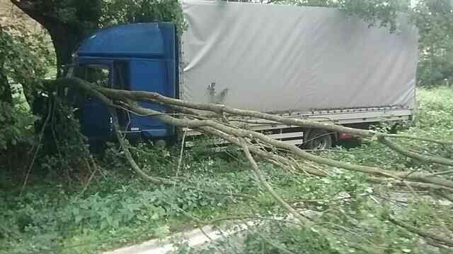 Fának ütközött egy teherautó, a sofőrt újra kellett éleszteni